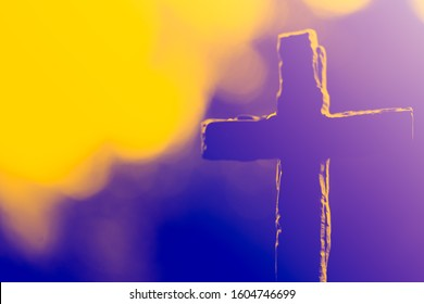 Crown of throns and Silhouette Jesus cross.Crucifixion Of Jesus Christ.Jesus with Cross concept for faith religion, christian worship, Easter, Redeemer.The Feast of Corpus Christi Concept.