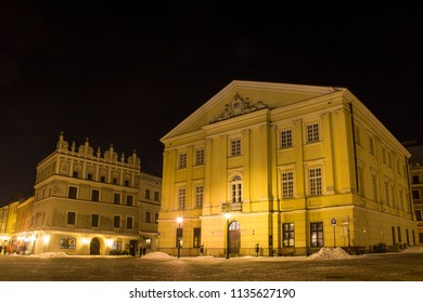Crown Tribunal and Rynek square in Lublin old town at night, Poland