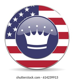 Crown usa design web american round internet icon with shadow on white background.