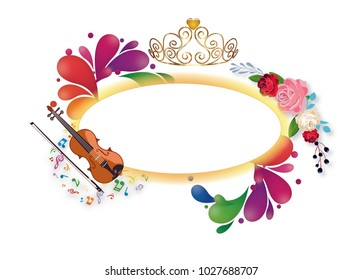 Crown, violin and flowers with paint splash