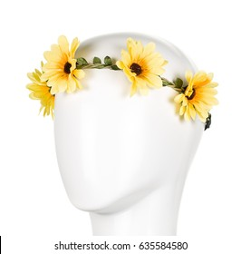Crown of yellow flowers for girl
