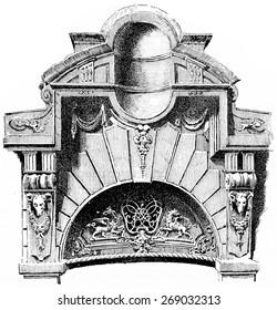 Crowning of a portal, rue des Francs-Bourgeois, vintage engraved illustration. Paris - Auguste VITU 1890.