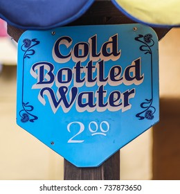 Crownsville, MD - October 14, 2017: Cold bottled water for sale at the Maryland Renaissance Festival, an annual event representing a fictional 16th-century English village named Revel Grove.