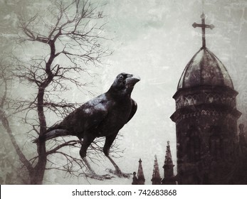 Crows, dried trees, dead and old temples in Halloween Concepts, horrors, darkness, ghosts, mysteries and magic.