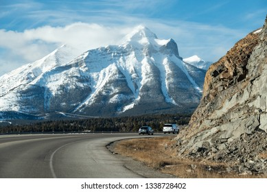 Crowsnest Pass, Alberta, Canada - December 22, 2018:  Looking west of Coleman from Crowsnest Highway toward Mount Tecumseh during a late December Chinook.