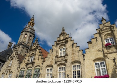 Crow-stepped gables in Veurne Westhoek West Flanders Belgium in the background