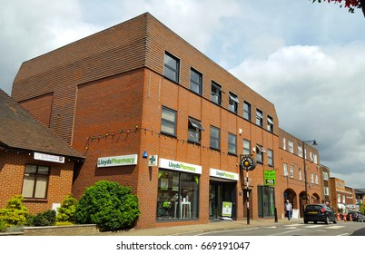 CROWTHORNE, UK - 30 JUNE 2017: Lloyds Pharmacy on Crowthorne High Street. Lloyds is a UK based pharmacist with approx 17,000 employees