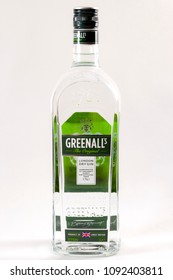 Croydon, UK - May 10, 2018: Illustrative editorial of  a bottle of Greenall's dry gin isolated on white background with a clipping path cutout