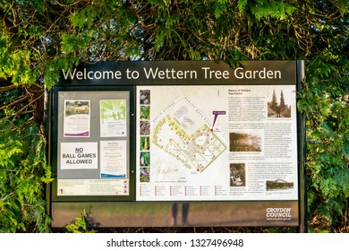 Croydon, United Kingdom - February 23, 2019:  Wettern Tree Garden in Sanderstead, Purley Oaks Road. A unique collection of trees and shrubs  established by Eric Wettern