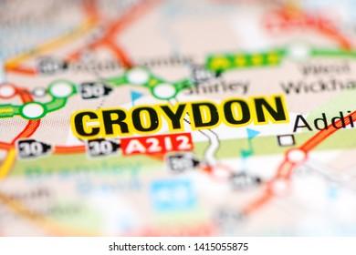 Croydon. United Kingdom on a geography map