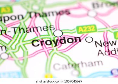 Croydon. United Kingdom on a map
