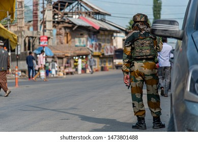CRPF (Central reserve Police Force) at the market in Srinaka, Kashmir, India. Photo take on 31 July 2019 before govt announced tourist leave Kashmir ASAP.