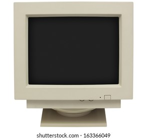 CRT monitor with black screen for copy isolated on white with clipping path
