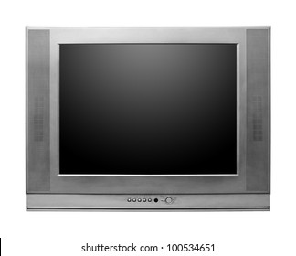 CRT TV With Screen Clipping Paths Included isolated on white background