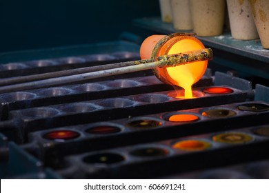 Crucible with molten metal.