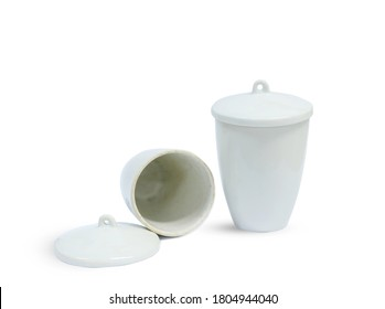 Crucible Porcelain Tall on white background. Scientific tile cup that can withstand high temperatures.