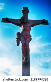 crucifix and blue sky as easy background