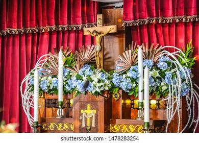 The crucifix at the catholic church altar on Immaculate heart of Mary feast day church on 12 August 2019 at Samutprakarn, Thailand