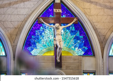 The crucifix at the catholic church altar on our Lady queen of peace feast day church on 27 October 2019 at Bangkok, Thailand