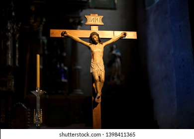 Crucifix in a church. Catholic religion concept.