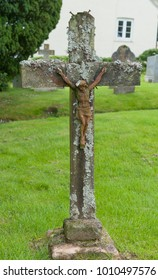 Crucifix in the Churchyard at Withypool within Exmoor National Park in Rural Somerset, England, UK