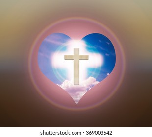 Crucifix or cross and god light on heart freedom sky background