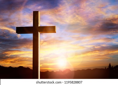 Crucifix cross at sunset background, crucifixion of Jesus Christ