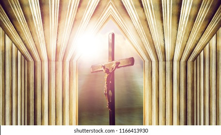 crucifix, jesus on the cross in church with ray of light