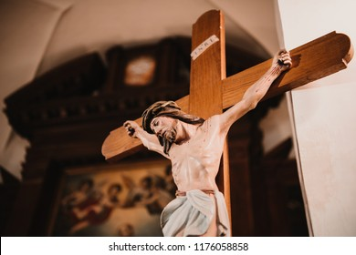 Crucifix, Jesus on the cross in church.