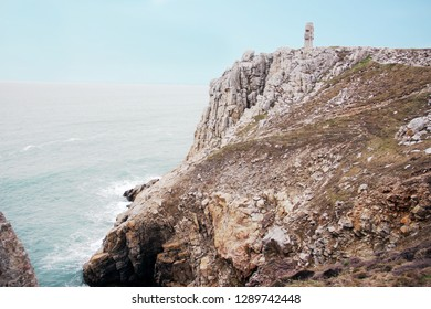 crucifix monument at the cape of Pen Hir in the Crozon peninsula in France