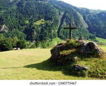 A crucifix on the alpine pasture in the Maderanertal valley - Canton of Uri, Switzerland