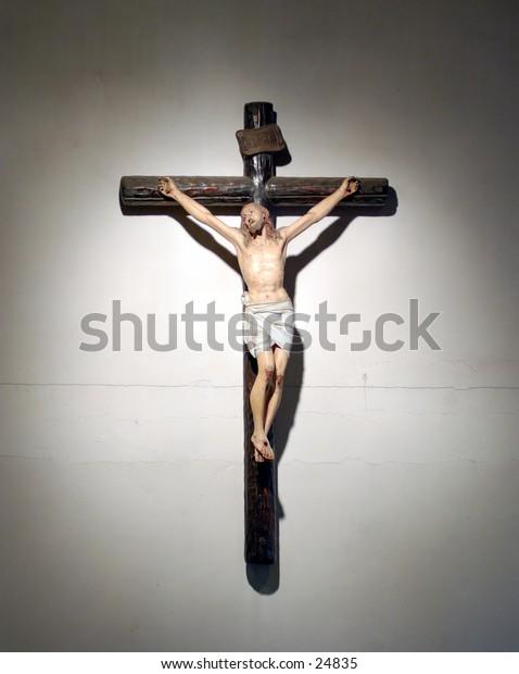 Crucifix on a church wall