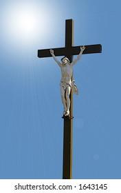 crucifix on digital background