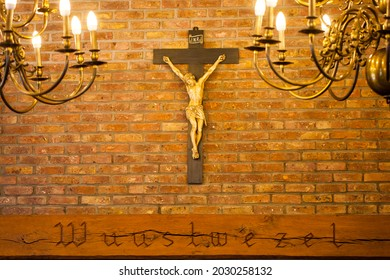 Crucifix on wall of old church. Catholic crucifix with text space. High quality photo