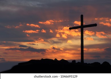 Crucifixion Of Jesus Christ - Cross At Sunrise on resurrection sunday.Good friday and Easter concept.
