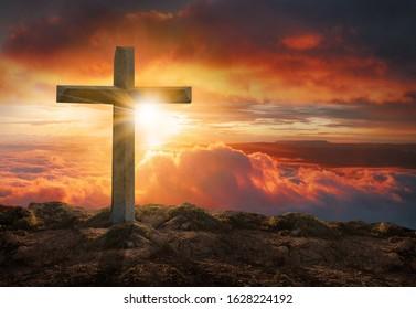 Crucifixion of jesus christ  cross at sunset