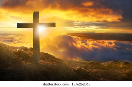 The crucifixion of the crucifixion of jesus christ on the cliffs and mountains