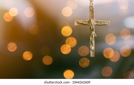 Crucifixion Of Jesus Christ.Jesus with Cross over sunset concept for faith religion, christian worship, Easter, Redeemer Thanksgiving prayer and praise, good friday.