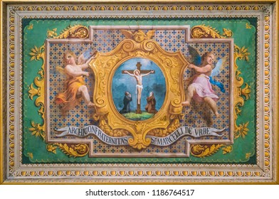 Crucifixion of Jesus with cupids fresco in the Church of the Suore Missionarie di Gesù Eterno Sacerdote, in Rome, Italy. September-23-2018