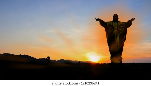 Crucifixion of Jesus in the evening The falling sun can be used as a background