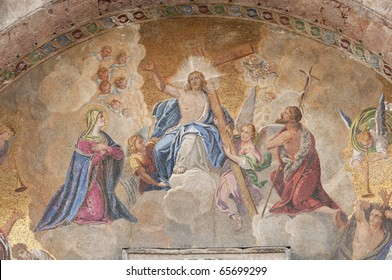 The Crucifixion of Jesus in mosaic from the outside of the Cathedral San Marco in Venice, Italy