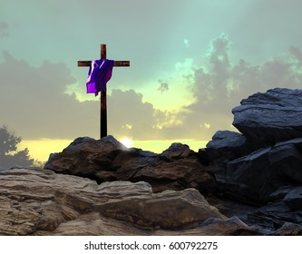 Crucifixion Sunset with Purple Garment