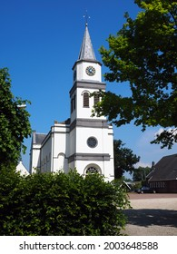 Cruciform church of Waardenburg, Netherlands. This beautiful white reformed church was build in 1862.