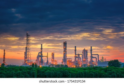 Crude Oil and Gas Refinery Plant of Manufacturing Petrochemical, Process Production Line of Oil/Gas Industry. Processing Oil Product Building of Chemical Petroleum Factory, Heavy Industrial Sector.