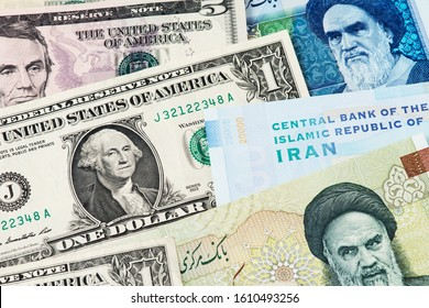 Crude oil Price. US Dollar and Iran Rial currency banknotes. USA vs IRAN