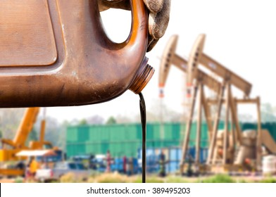crude oil from sample canned oil pump background.