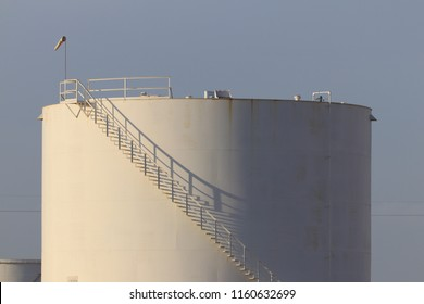 crude oil storage tank with wind sock