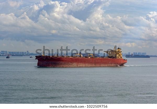 Crude Oil Tanker Ballast Underway Coastal Stock Photo (Edit