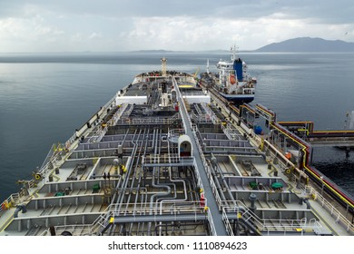 Crude oil tanker discharging to the Melones terminal, Panama.