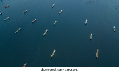 Crude Oil tanker and LPG  Loading in port at sea view from above. Aerial view oil tanker shot from drone.